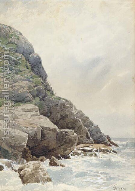 Surf and Cliffs, Conanicut, Rhode Island by Alfred Thompson Bricher - Reproduction Oil Painting