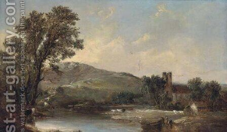 Cattle watering by a church in a river landscape by Alfred Vickers - Reproduction Oil Painting