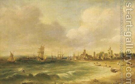 Figures on the foreshore, a busy harbour beyond by Alfred Vickers - Reproduction Oil Painting