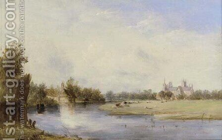 Ely Cathedral, on the Ouse by Alfred Vickers - Reproduction Oil Painting