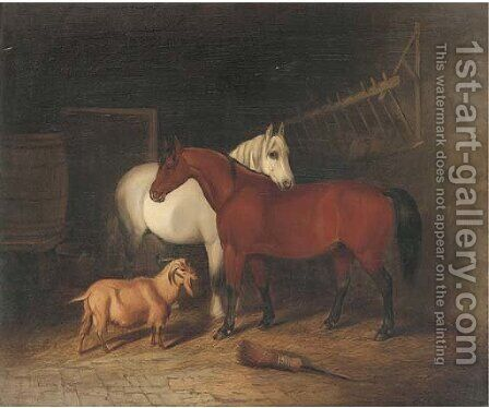 Two horses and a goat in a stable by Alfred Wheeler - Reproduction Oil Painting