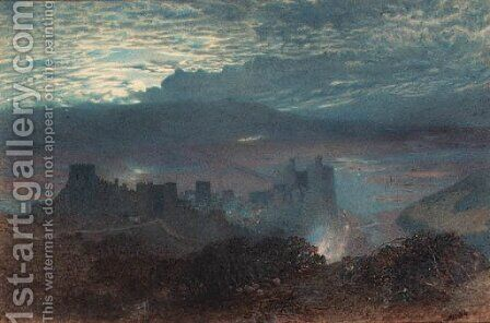 Castle with an estuary beyond, possibly Conway, North Wales by Alfred William Hunt - Reproduction Oil Painting