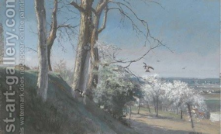 A landscape with cherry trees and swallows by Alfred-Emile Mery - Reproduction Oil Painting