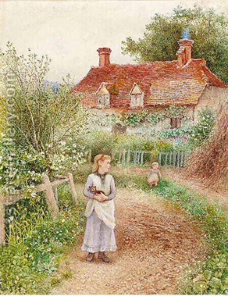 Children holding a cat before a cottage by Alice Squire - Reproduction Oil Painting
