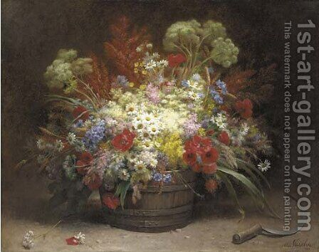 A bouquet of field flowers in a pail by Alice Vasselon - Reproduction Oil Painting