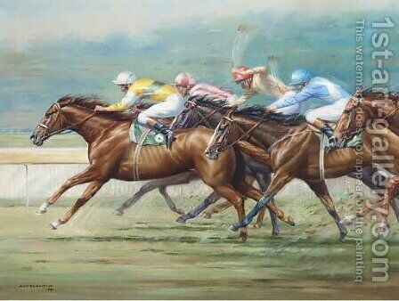 Racing at Ranwick by A. Simpson - Reproduction Oil Painting