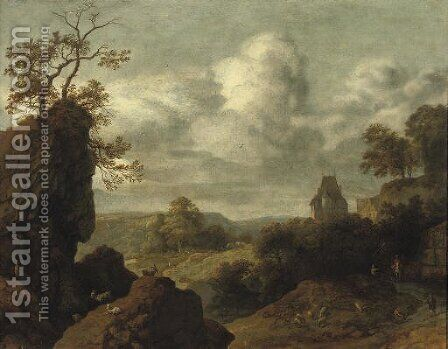 A rocky landscape with figures on a track, a castle beyond by Allaert van Everdingen - Reproduction Oil Painting