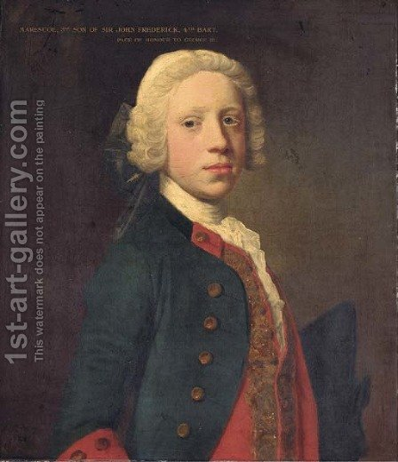 Portrait of Marescoe Frederick, half-length, in a blue military coat and red waistcoat, holding a tricorn by Allan Ramsay - Reproduction Oil Painting