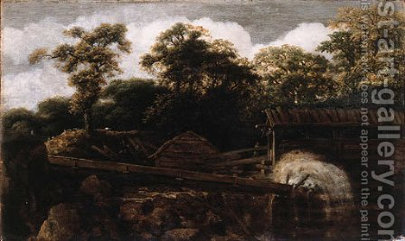 A sawmill on a river at the edge of a wood by Allaert van Everdingen - Reproduction Oil Painting