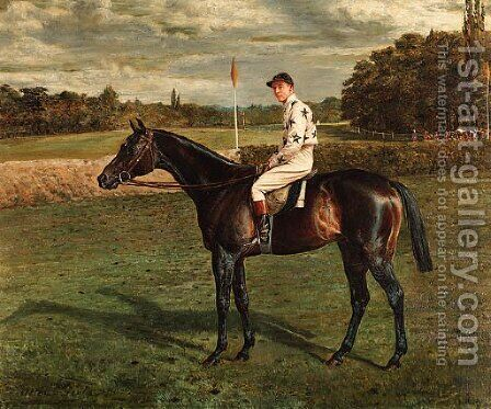 A bay Racehorse with Jockey-up, on a racecourse by Allen Culpepper Sealy - Reproduction Oil Painting