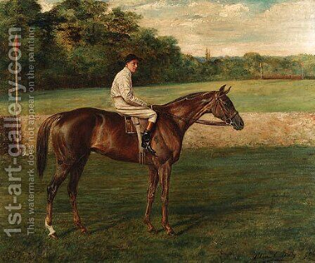A chestnut Racehorse with Jockey-up, on a racecourse by Allen Culpepper Sealy - Reproduction Oil Painting