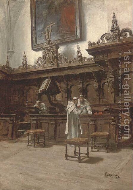 A time for prayer by Alois Hans Schram - Reproduction Oil Painting