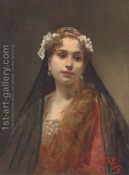 A young maiden dressed in a floral veil by Alois Hans Schram - Reproduction Oil Painting