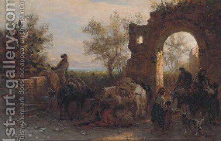 Travellers watering horses at a ruin by Alois Schonn - Reproduction Oil Painting