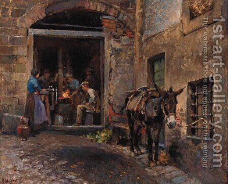 A donkey outside a forge by Alfons Hollaender - Reproduction Oil Painting