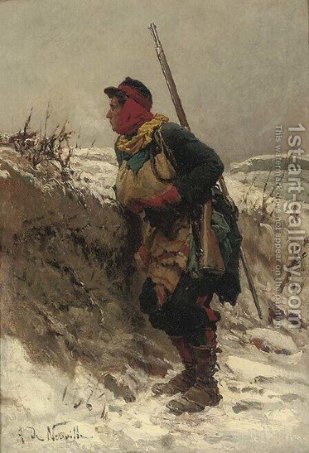 A French rifleman in the snow by Alphonse Marie de Neuville - Reproduction Oil Painting