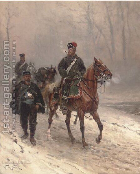 A Prussian hussar escorting a French prisoner on a winter track by Alphonse Marie de Neuville - Reproduction Oil Painting