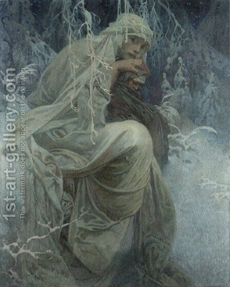 A Winter Tale by Alphonse Maria Mucha - Reproduction Oil Painting