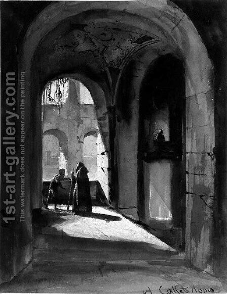 The arcade of a monastery cloister with a monk and a mendicant by Alphonse-Apollodore Callet - Reproduction Oil Painting