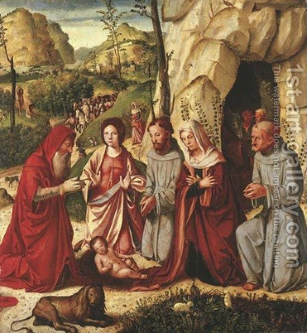 The Adoration of the Child with Saints Francis of Assisi, Jerome, Catherine of Alexandria and Bernardino of Siena, the Shepherds by Altobello Melone - Reproduction Oil Painting