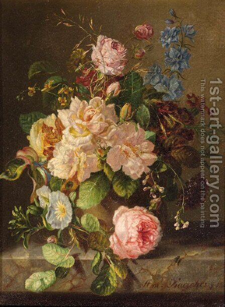 A still life with roses, primulas and morning glory by Amalie Kaercher - Reproduction Oil Painting