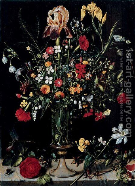 A still life of flowers in a vase by Ambrosius the Elder Bosschaert - Reproduction Oil Painting