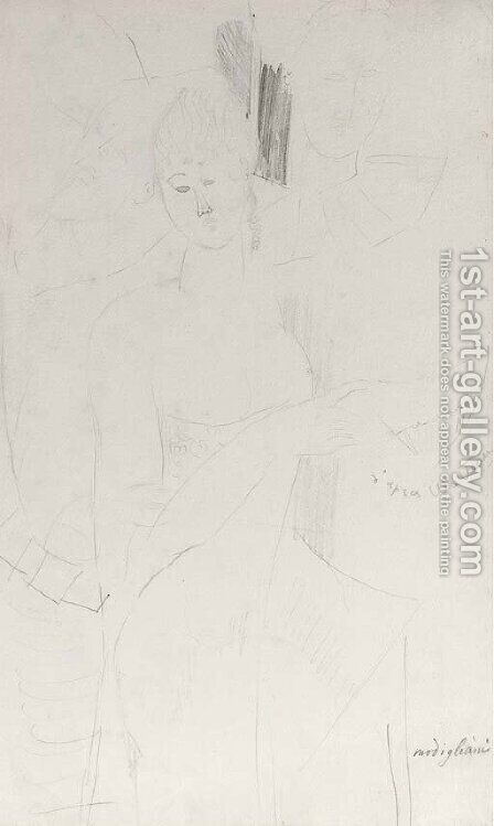 D'apres Watteau femme et arlequins by Amedeo Modigliani - Reproduction Oil Painting