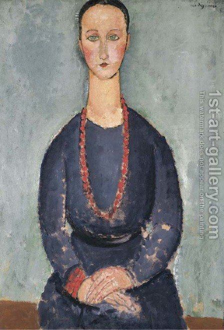 Donna con collana rossa by Amedeo Modigliani - Reproduction Oil Painting