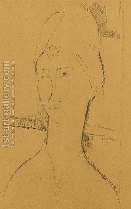 Donna con i capelli raccolti by Amedeo Modigliani - Reproduction Oil Painting