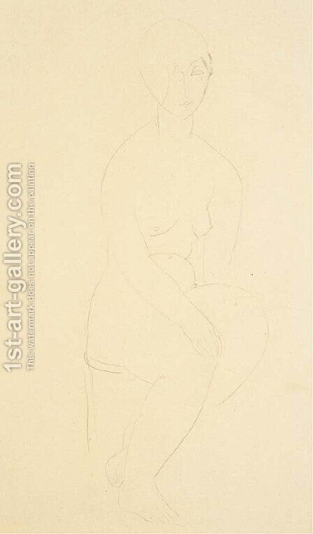 Jeune femme nue, assise by Amedeo Modigliani - Reproduction Oil Painting