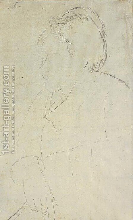 Portrait de Chaem Soutine by Amedeo Modigliani - Reproduction Oil Painting