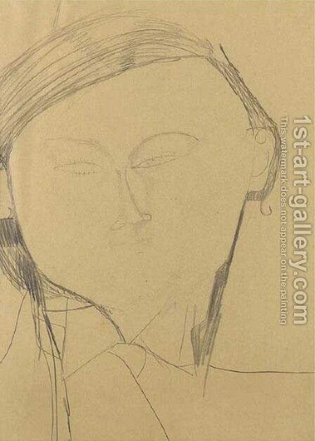 Portrait de Jacques Lipchitz by Amedeo Modigliani - Reproduction Oil Painting