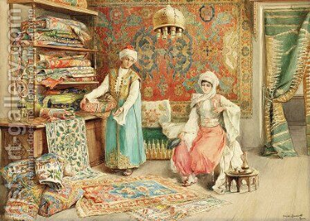 The carpet seller by Amedeo Momo Simonetti - Reproduction Oil Painting