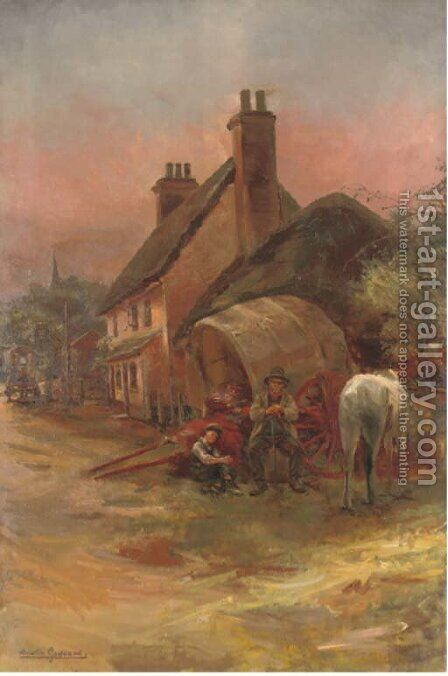 A rest by the inn by Amelia Goddard - Reproduction Oil Painting