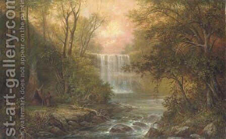 Minnehaha Falls, Minnesota by American School - Reproduction Oil Painting
