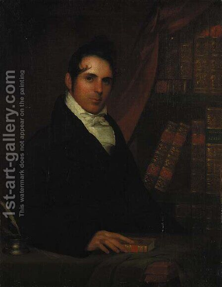Portrait of a Gentleman in His Library by American School - Reproduction Oil Painting