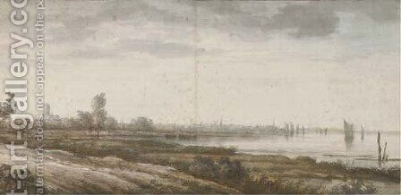 A distant view of Dordrecht along the Merwede River by (after) Aelbert Cuyp - Reproduction Oil Painting