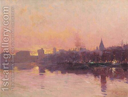 Marseille at dusk by Andre Maglione - Reproduction Oil Painting