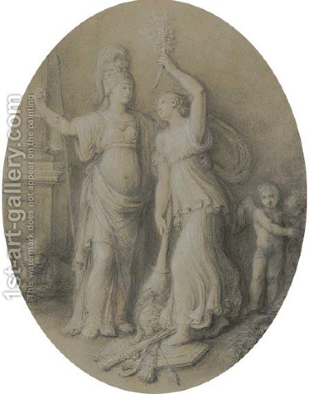 An allegory of Peace setting fire to a military trophy, with an allegory of Justice and a putto by Andrea, the Elder Appiani - Reproduction Oil Painting
