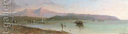 Fishermen in a Mediterranean bay by Andrea Fossati - Reproduction Oil Painting