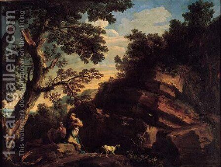A rocky river landcsape with figures conversing beneath a tree and a dog barking at flying birds by Andrea Locatelli - Reproduction Oil Painting