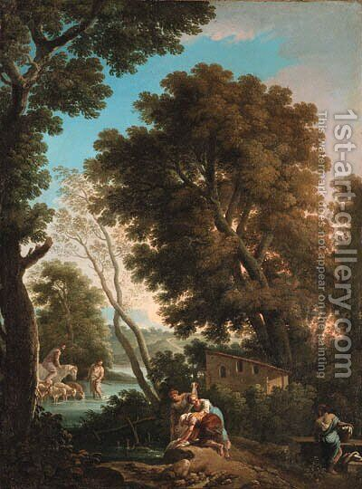 An arcadian landscape with washerwomen, a shepherd and sheperdess crossing a stream beyond by Andrea Locatelli - Reproduction Oil Painting