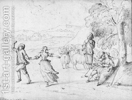 Shepherds dancing by the flute in an extensive landscape by Andrea Locatelli - Reproduction Oil Painting