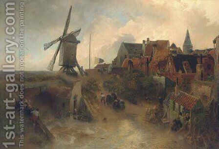 A windmill in a storm by Andreas Achenbach - Reproduction Oil Painting