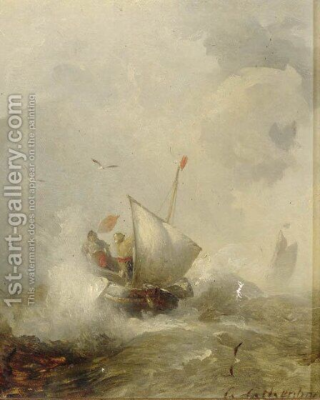 Fisherman in heavy seas by Andreas Achenbach - Reproduction Oil Painting