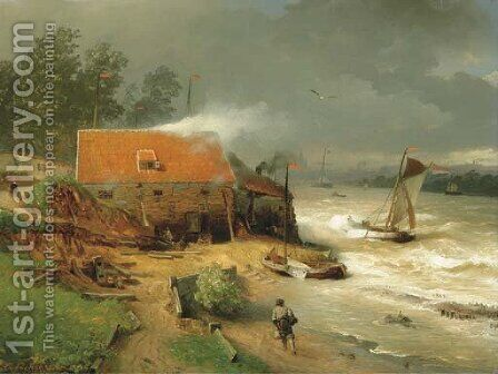 The boat wharf by Andreas Achenbach - Reproduction Oil Painting