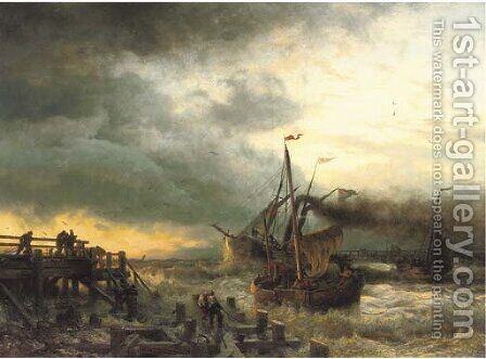 The departure of the steamship by Andreas Achenbach - Reproduction Oil Painting
