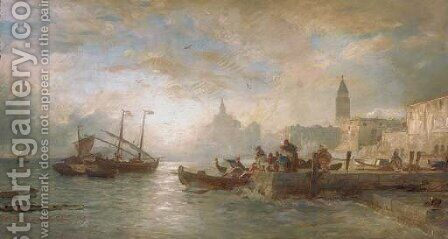 Venice at dawn by Andreas Achenbach - Reproduction Oil Painting