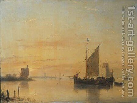 A calm sailing vessels at anchor on the Merwede river with Dordrecht beyond by Andreas Schelfhout - Reproduction Oil Painting