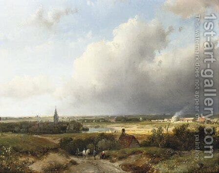 A panoramic Dutch river landscape by Andreas Schelfhout - Reproduction Oil Painting